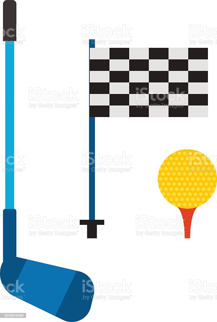 Set of golf club tee and ball sport leisure equipment isolated vector...
