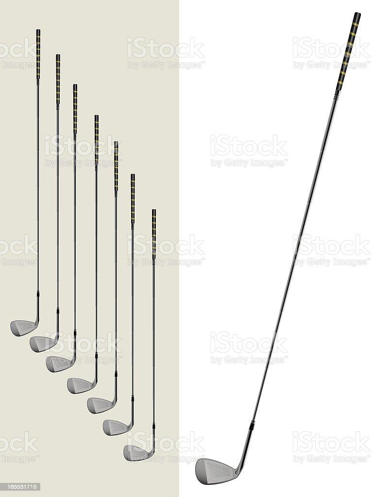 Set of golf irons royalty-free stock vector art