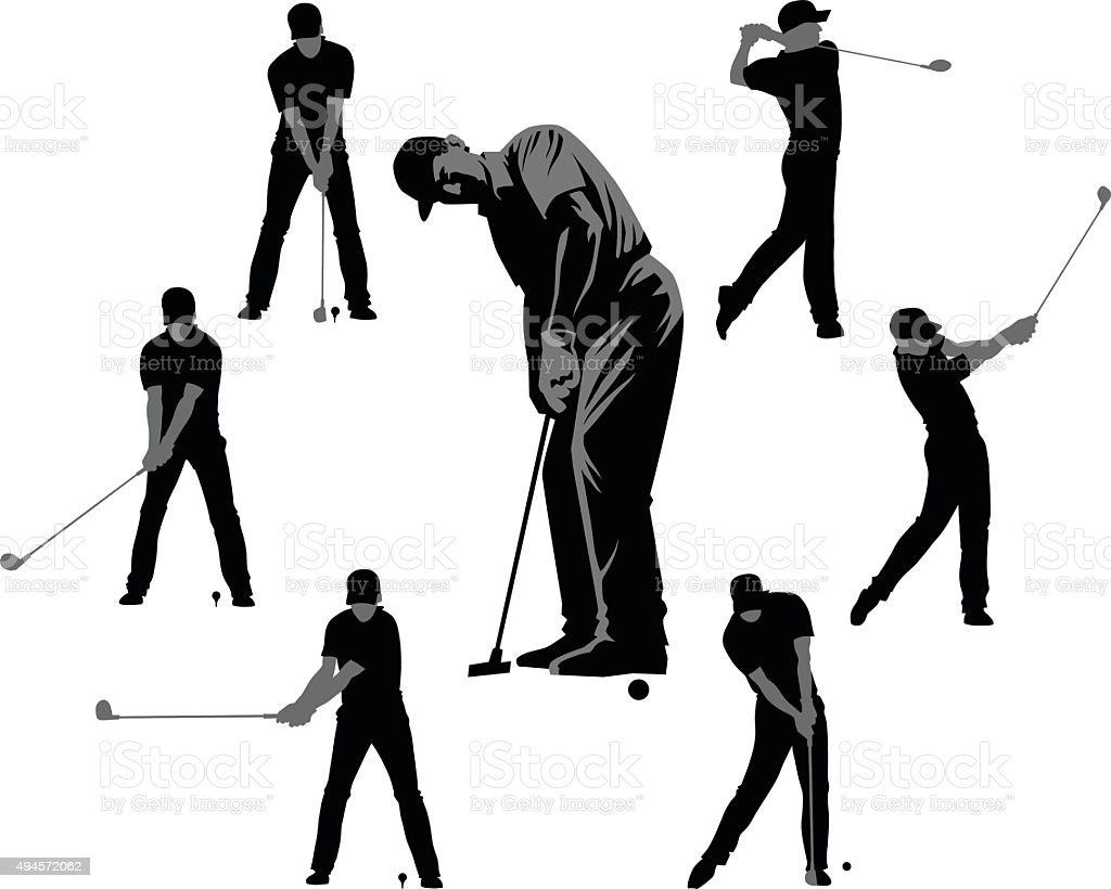 Set of Golf Silhouettes - Black and Gray vector art illustration