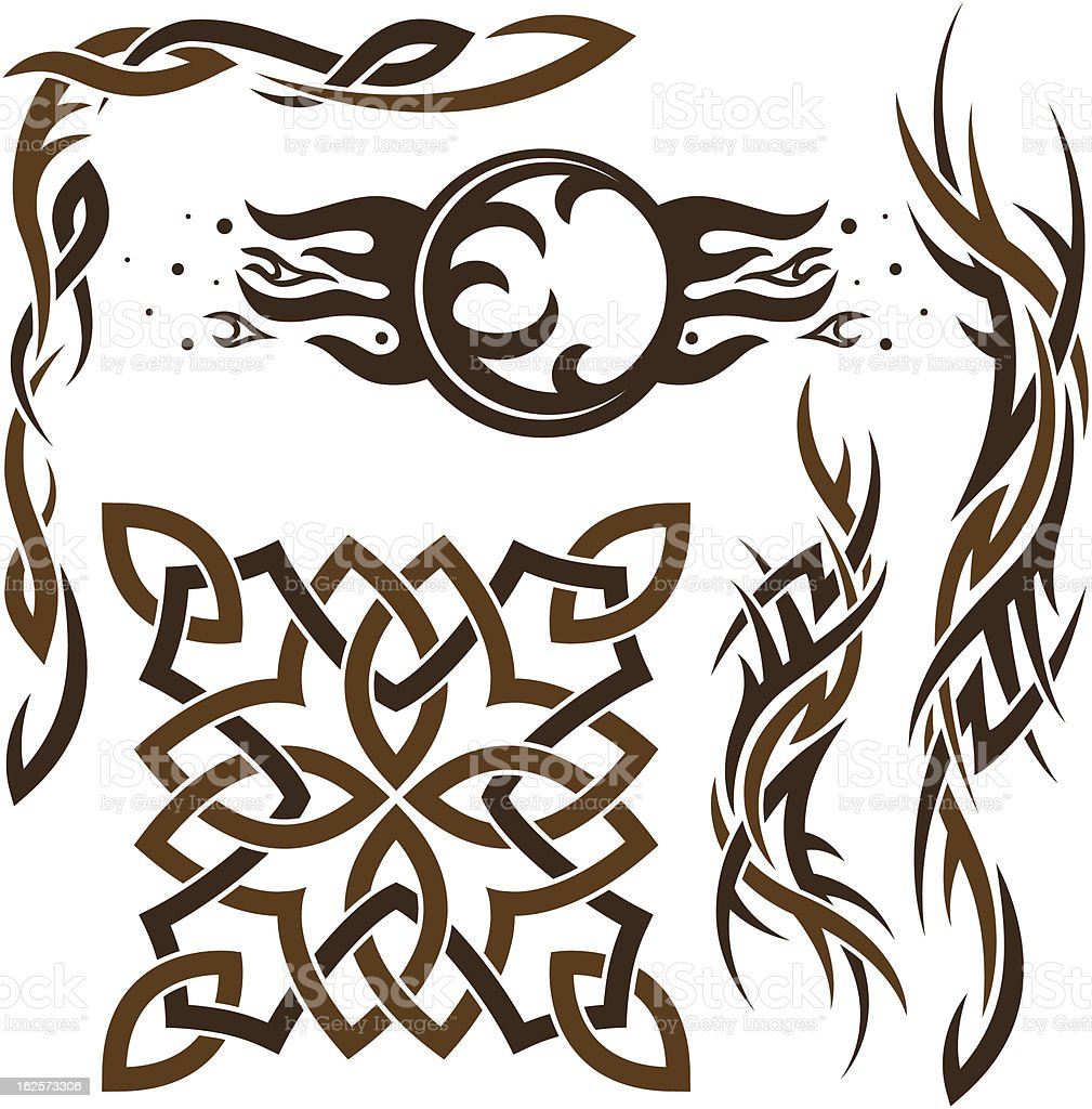 set of Gothic and Celtic ornaments royalty-free stock vector art