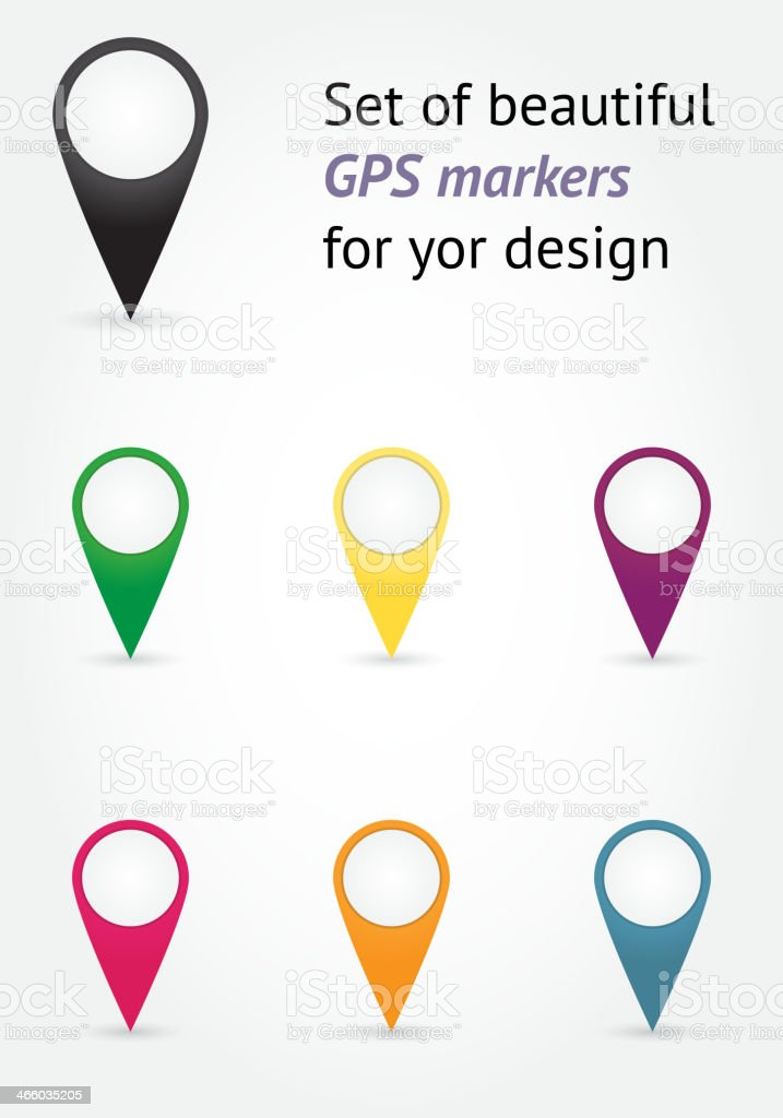 Set of GPS markers vector art illustration