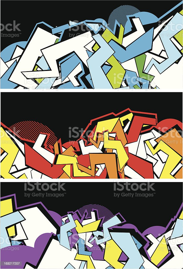 Set of graffiti banners vector art illustration