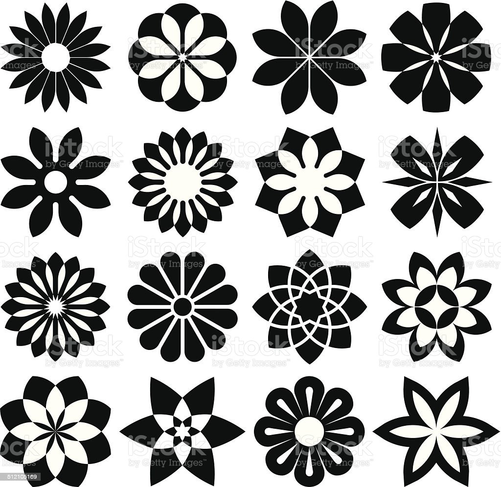 Set of Graphic Flowers vector art illustration