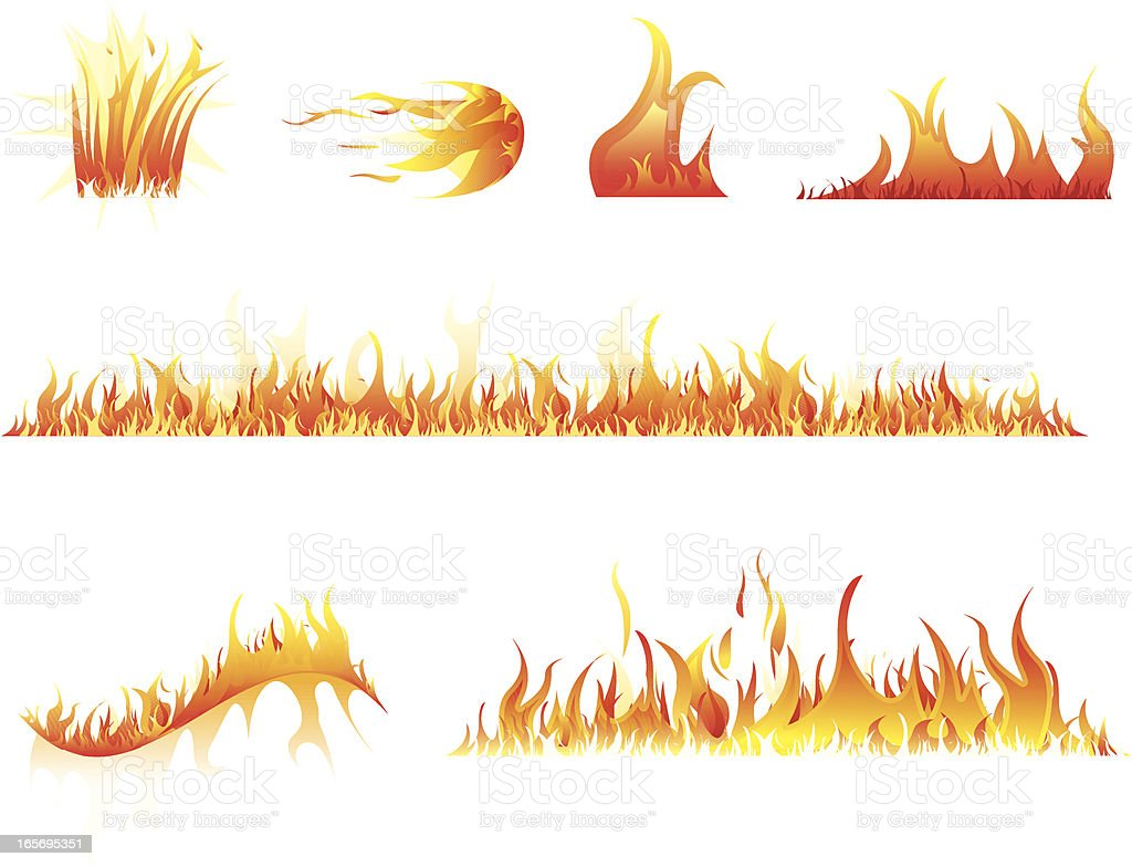 Set of graphic images of flames and fire vector art illustration