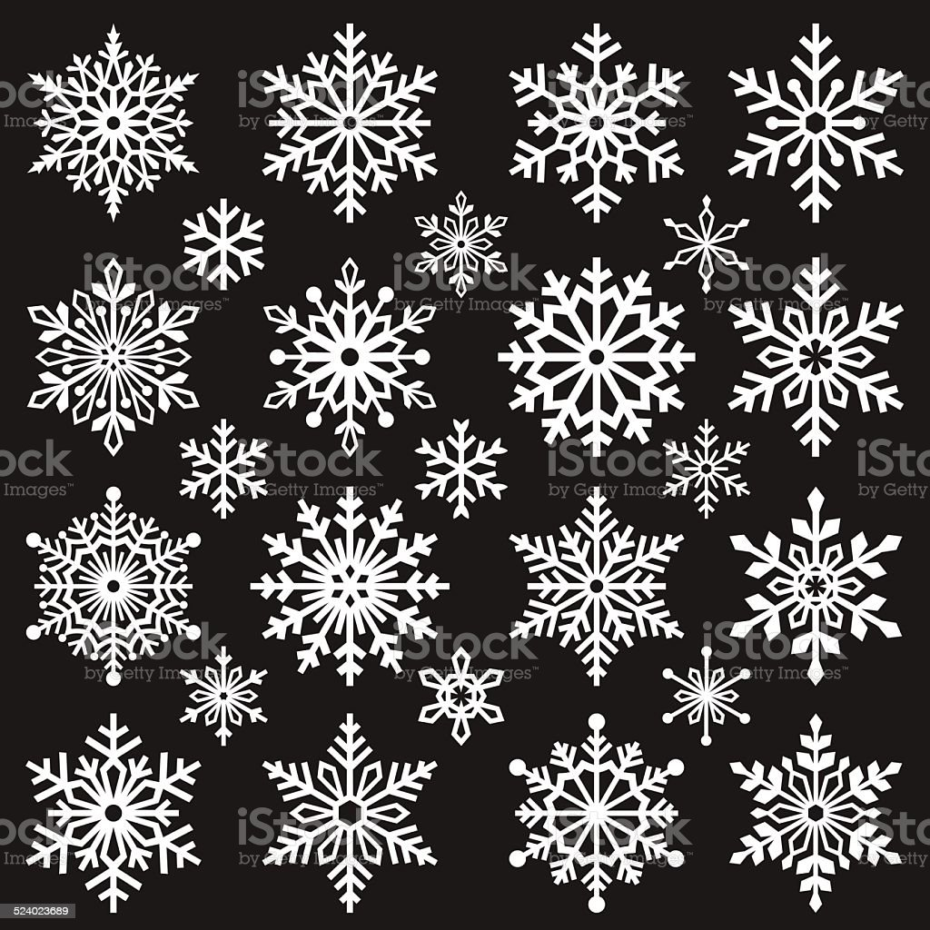 Set of Graphic Snowflakes vector art illustration