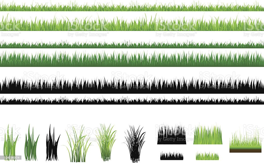 Set Of Grass, Green and Outline, Isolated On White vector art illustration