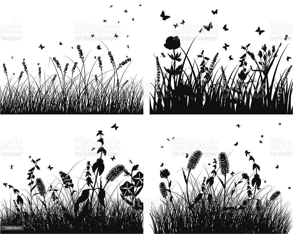 set of grass silhouettes royalty-free stock vector art