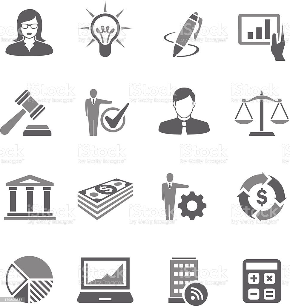A set of gray business symbols vector art illustration