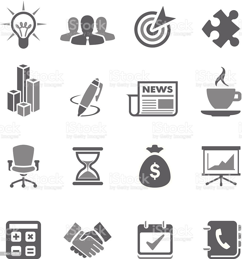 Set of gray business vector icons vector art illustration