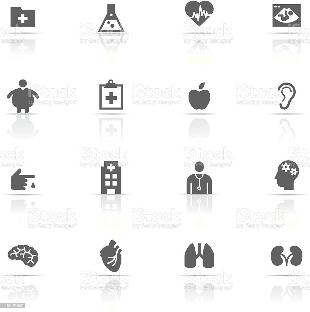Set of gray medical icons isolated on white vector art illustration