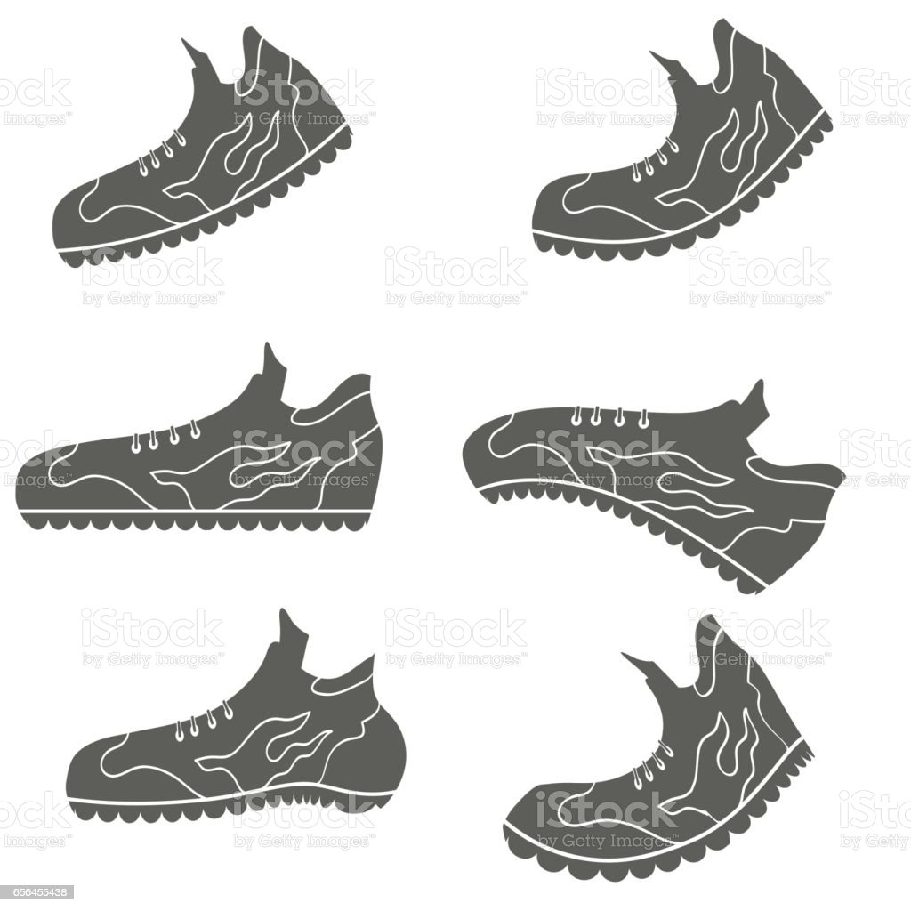 Set of Gray Sport Shoe Icons vector art illustration