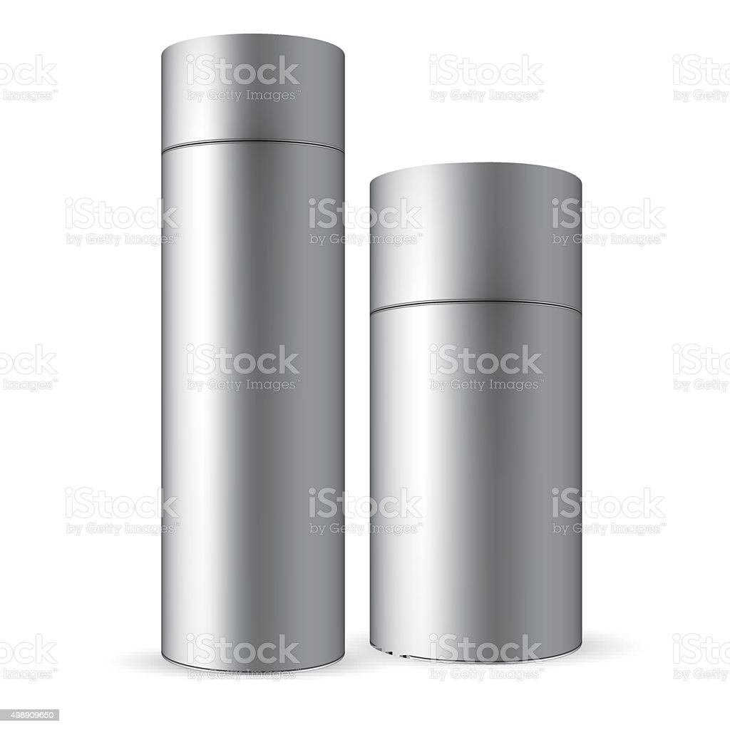 Set of gray tin round container vector art illustration