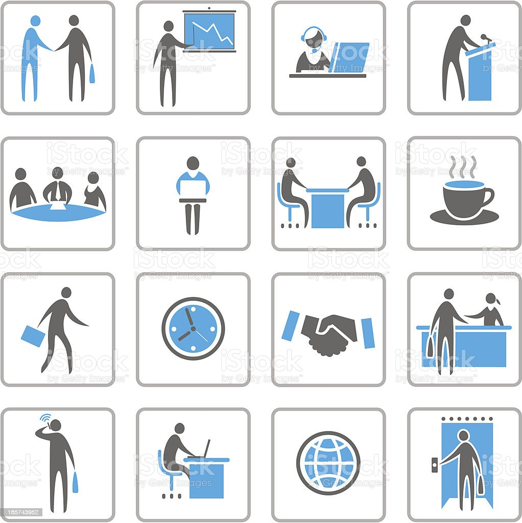 Set of gray, white, and blue business icons vector art illustration