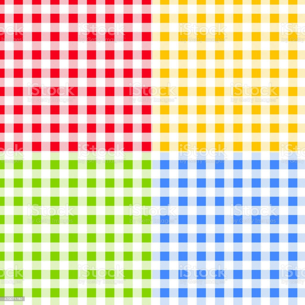 Set of Green, Blue, Red and Yellow Checkered Seamless Patterns vector art illustration
