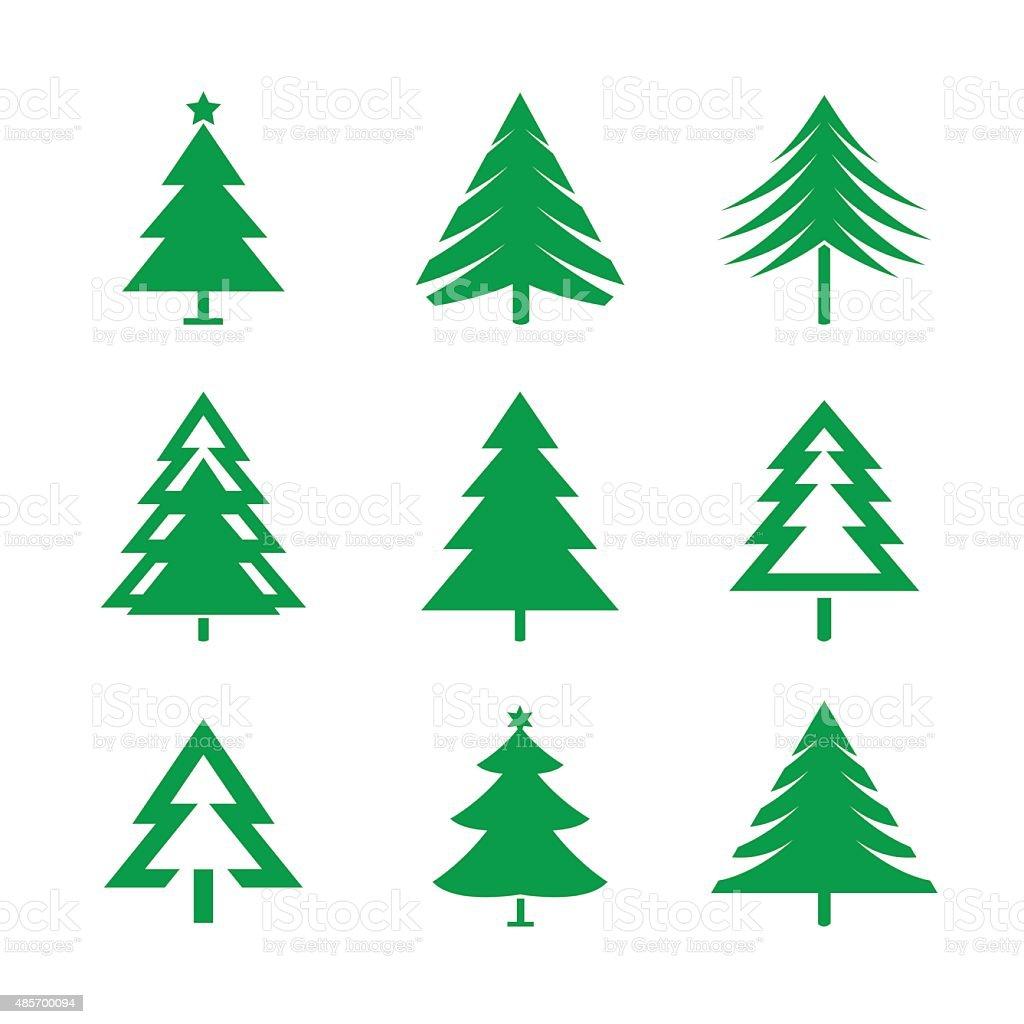 Set of Green Christmas Trees. Vector Illustrations. vector art illustration