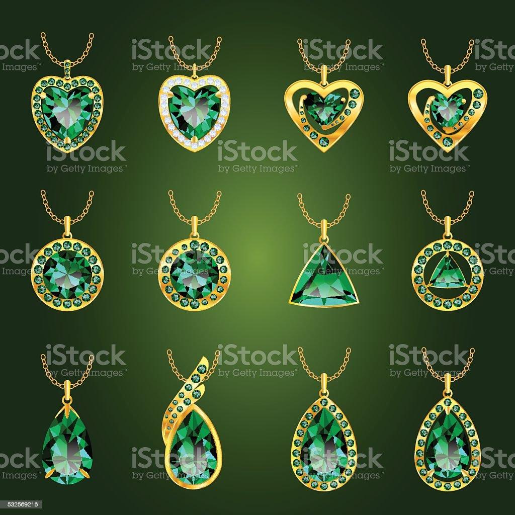 Set of green emerald pendants vector art illustration