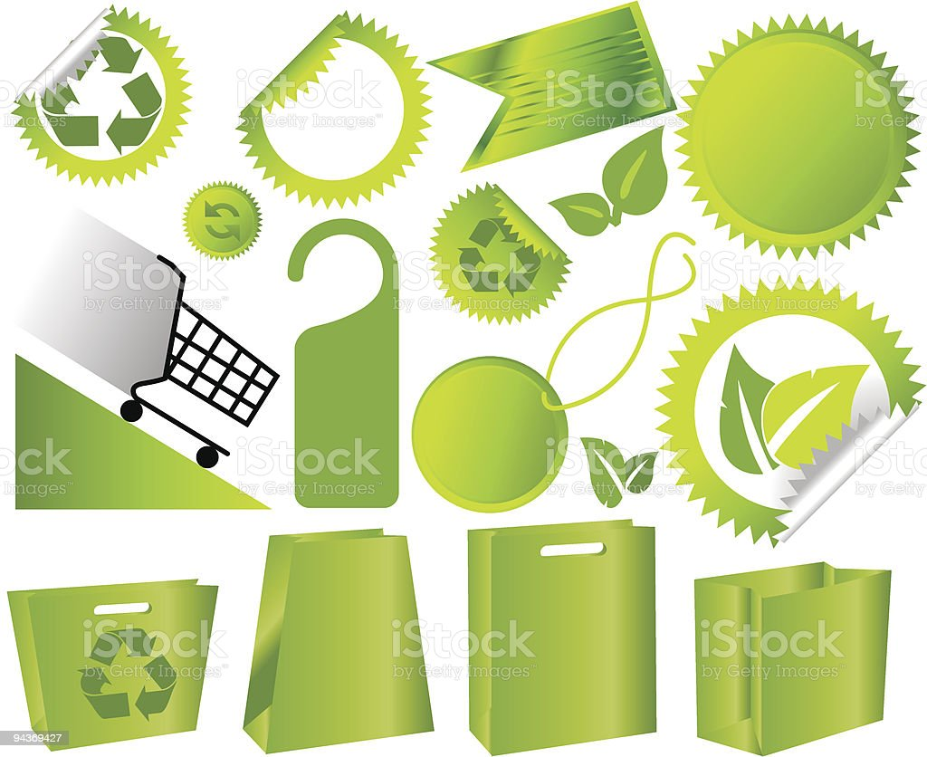 Set of green environmental icons royalty-free stock vector art