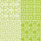 set of green floral seamless pattern