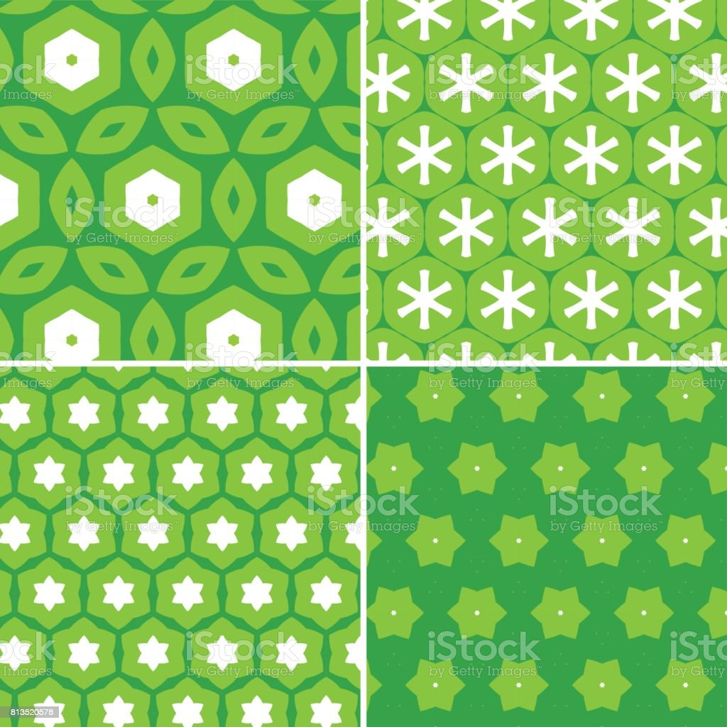 set of green floral texture background vector art illustration