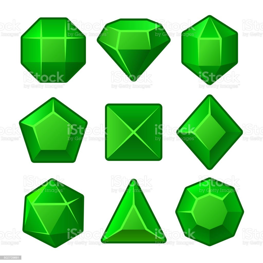 Set of Green Gems for Match3 Games. Vector royalty-free stock vector art