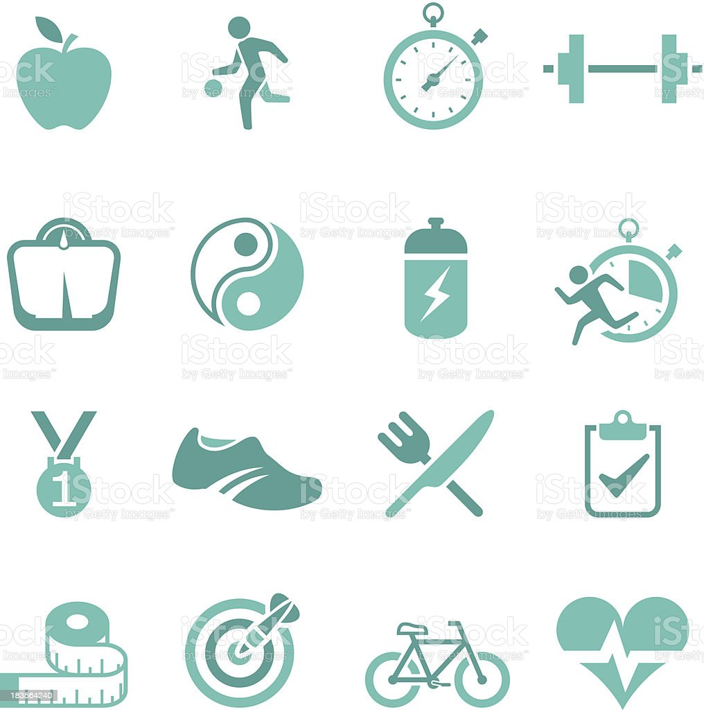 A set of green icons representing a healthy lifestyle vector art illustration