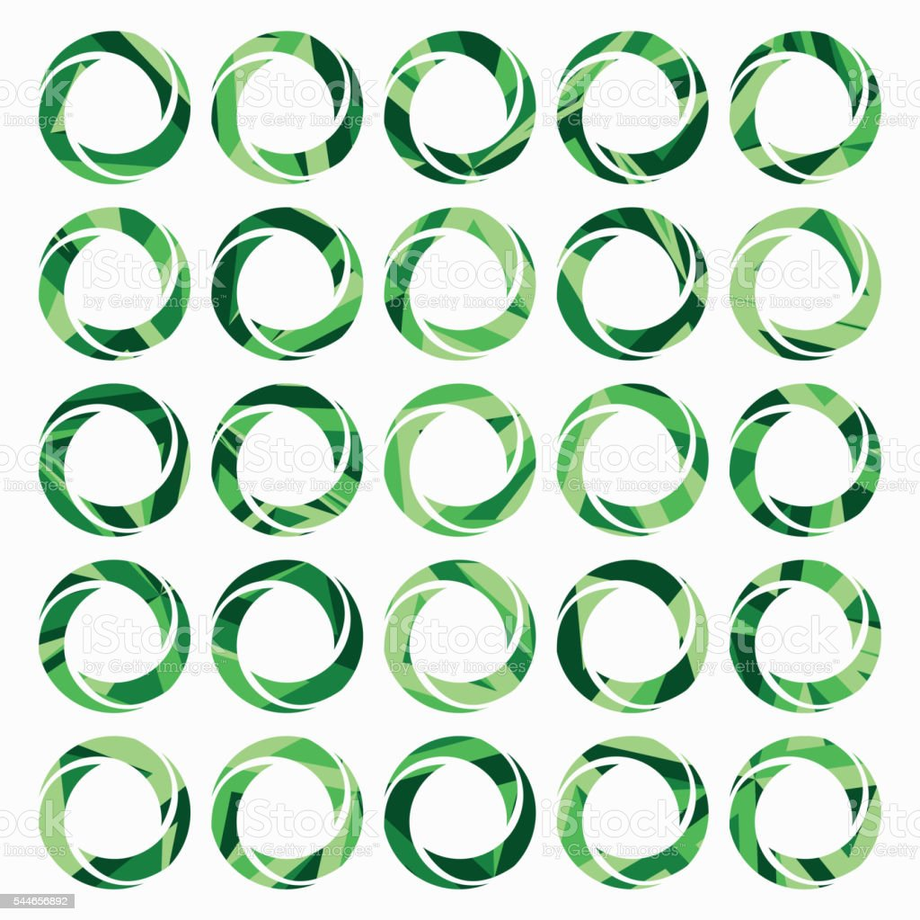 set of green iris diaphragm icon vector art illustration