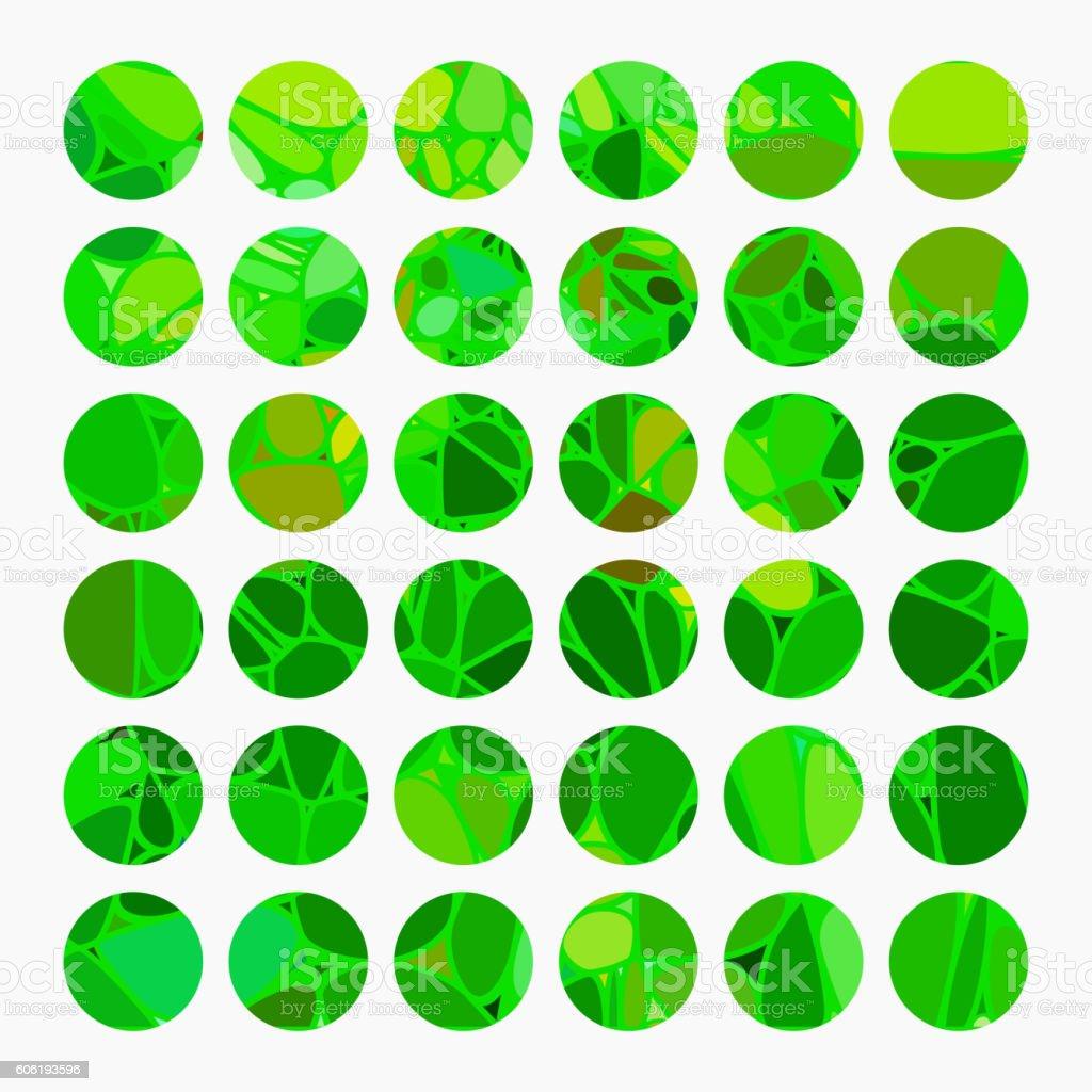 set of green mosaic texture circle buttons vector art illustration