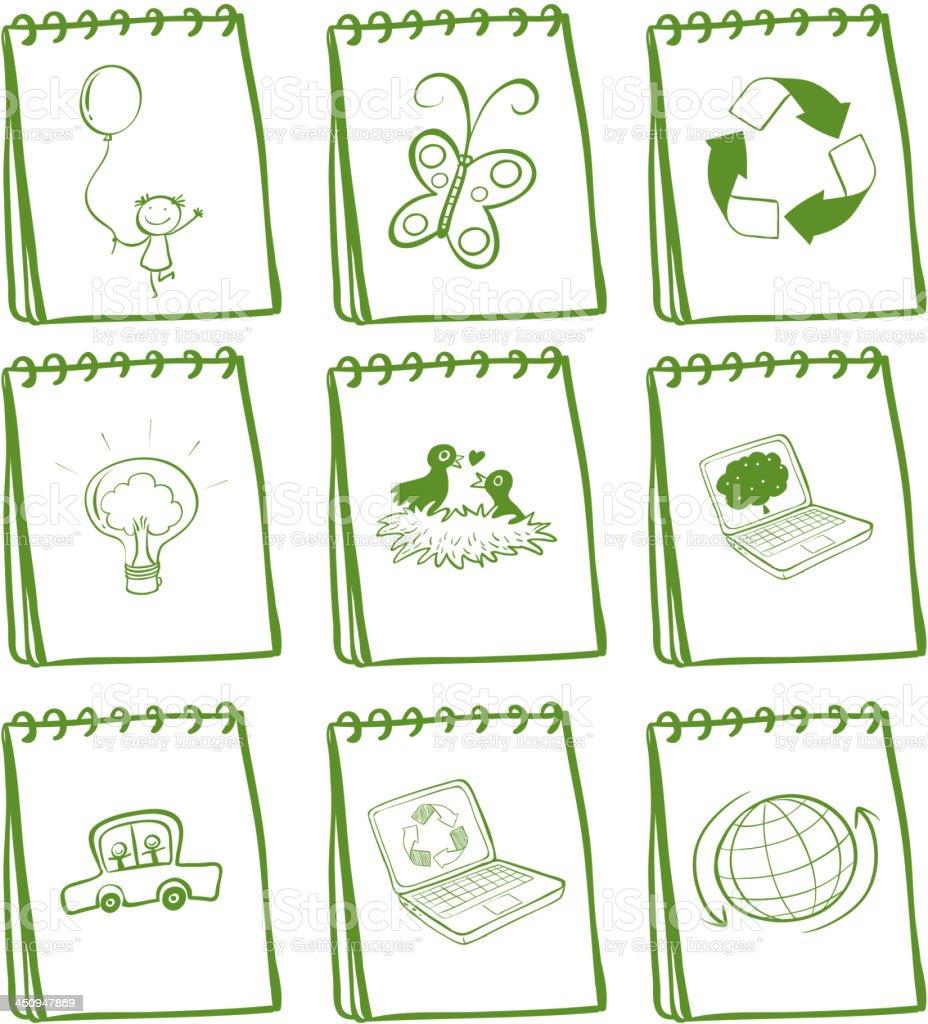 set of green notebooks royalty-free stock vector art