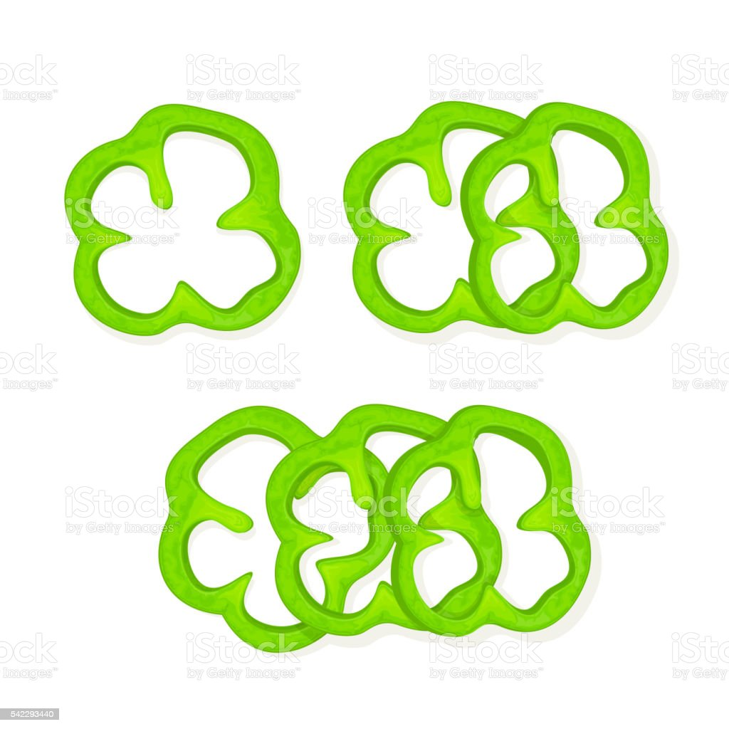Set of green peppers vector art illustration