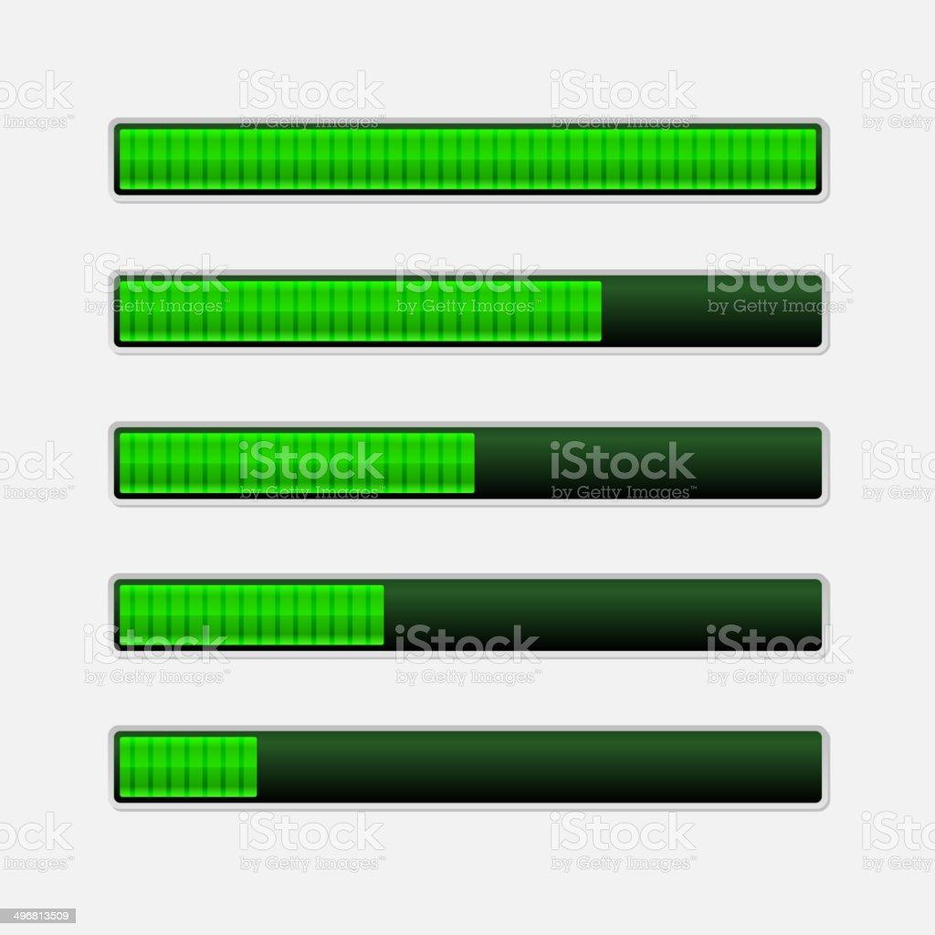 Set of Green Progress Bars. Vector Loading Bars royalty-free stock vector art