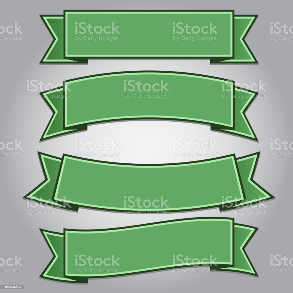 Set of green ribbon banners royalty-free stock vector art
