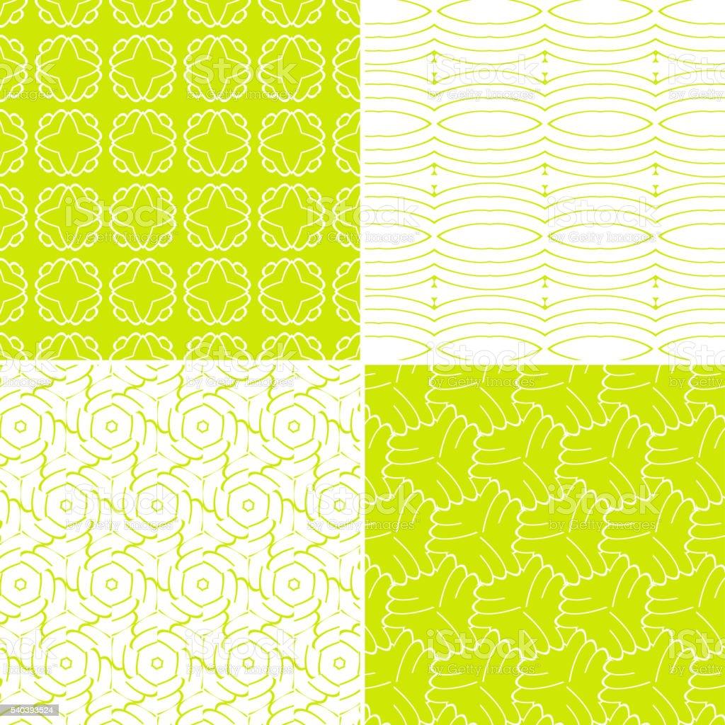 set of green seamless pattern vector art illustration