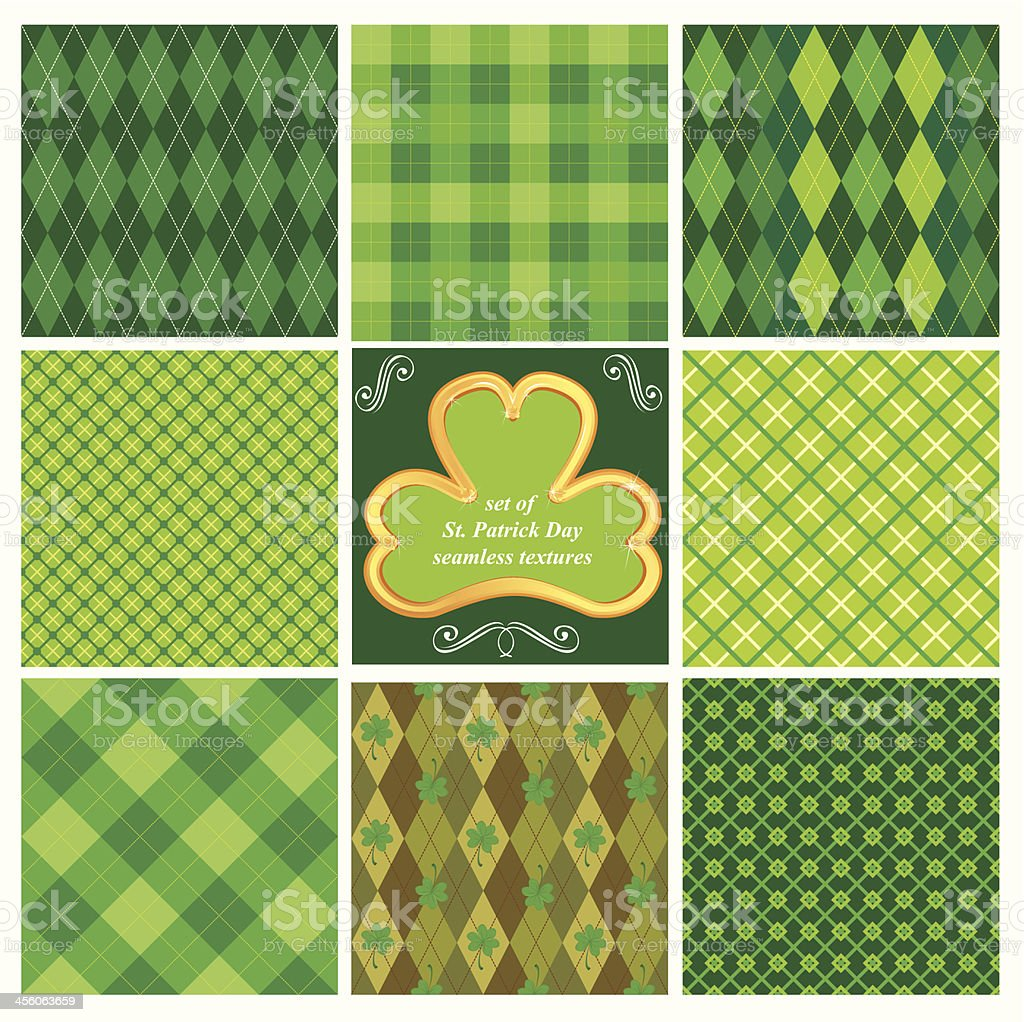 Set of green seamless patterns for Saint Patrick's Day vector art illustration