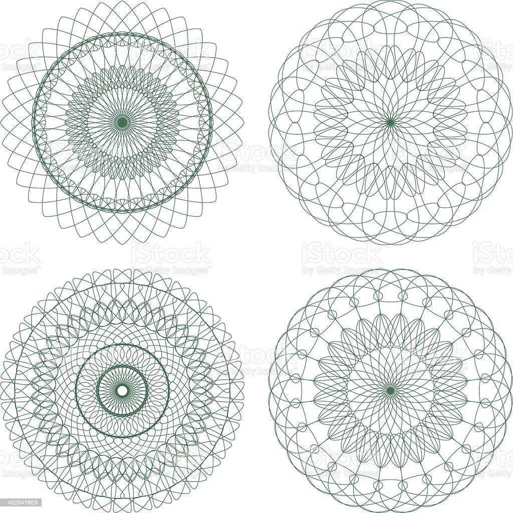 Set of Green Vector Guilloche Rosettes royalty-free stock vector art