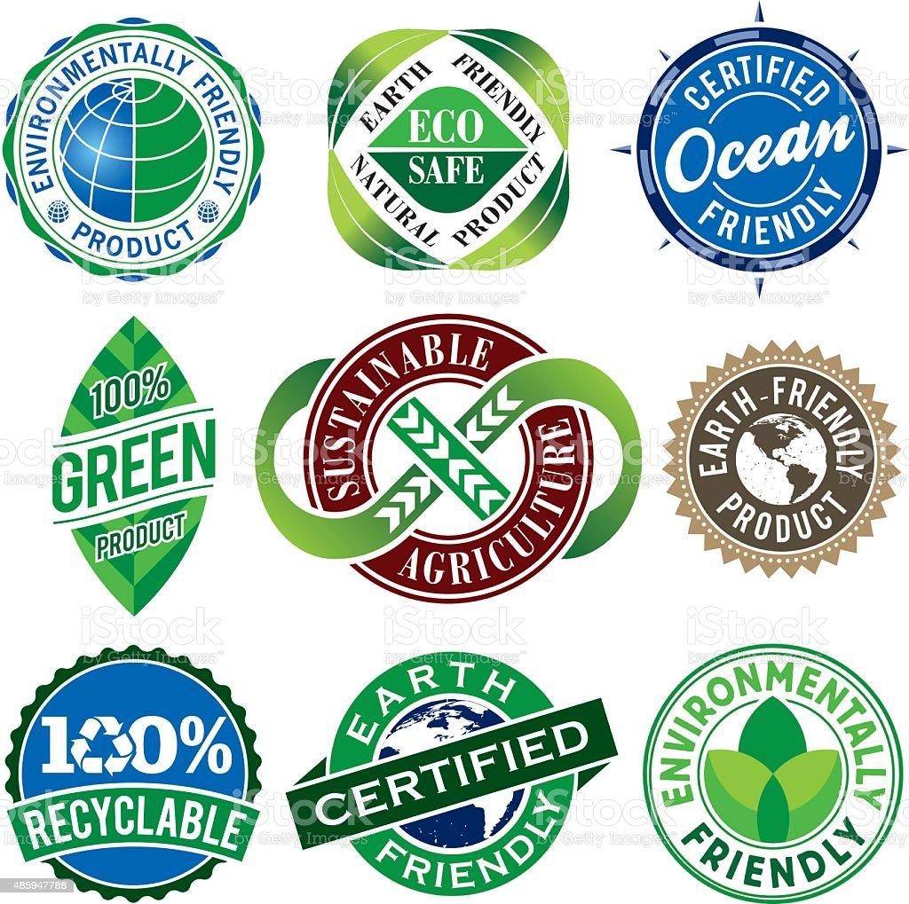 Set of Green Vintage Labels vector art illustration