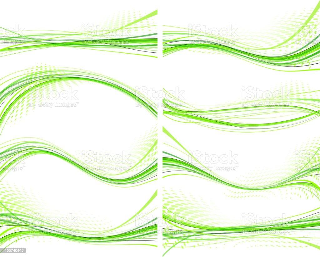Set of green wave design element royalty-free stock vector art