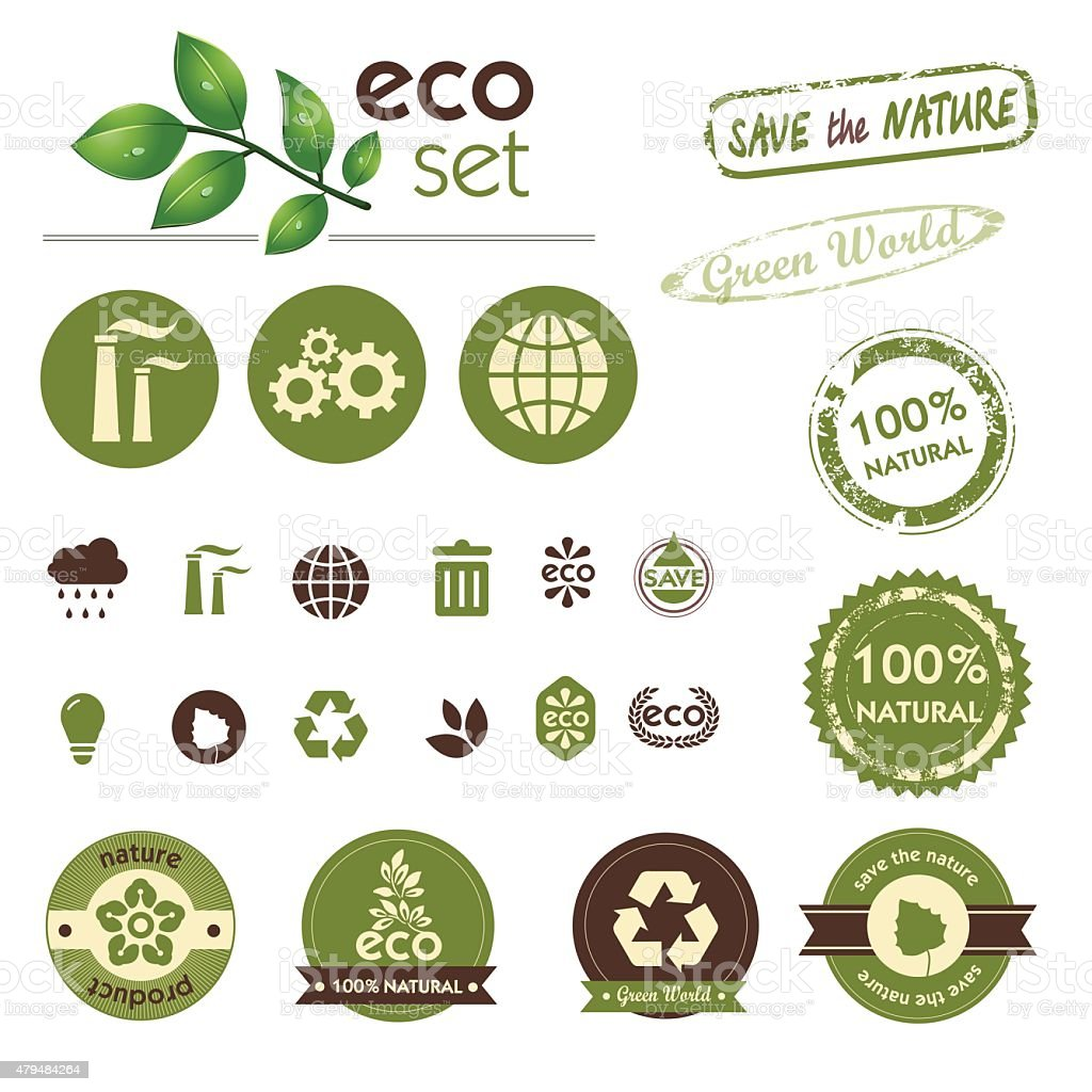 Set of Green world. Ecology theme. vector art illustration