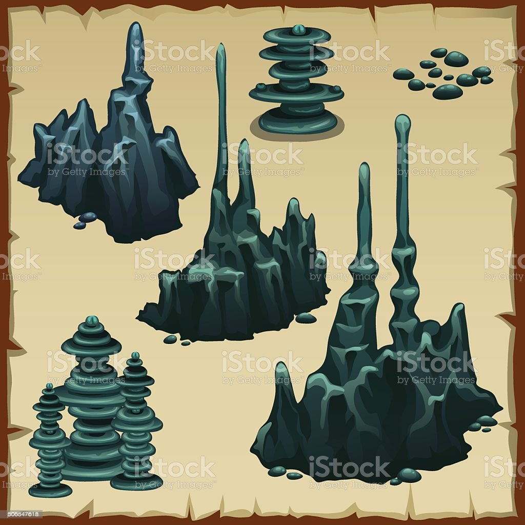 Set of grey stones stalactites vector art illustration