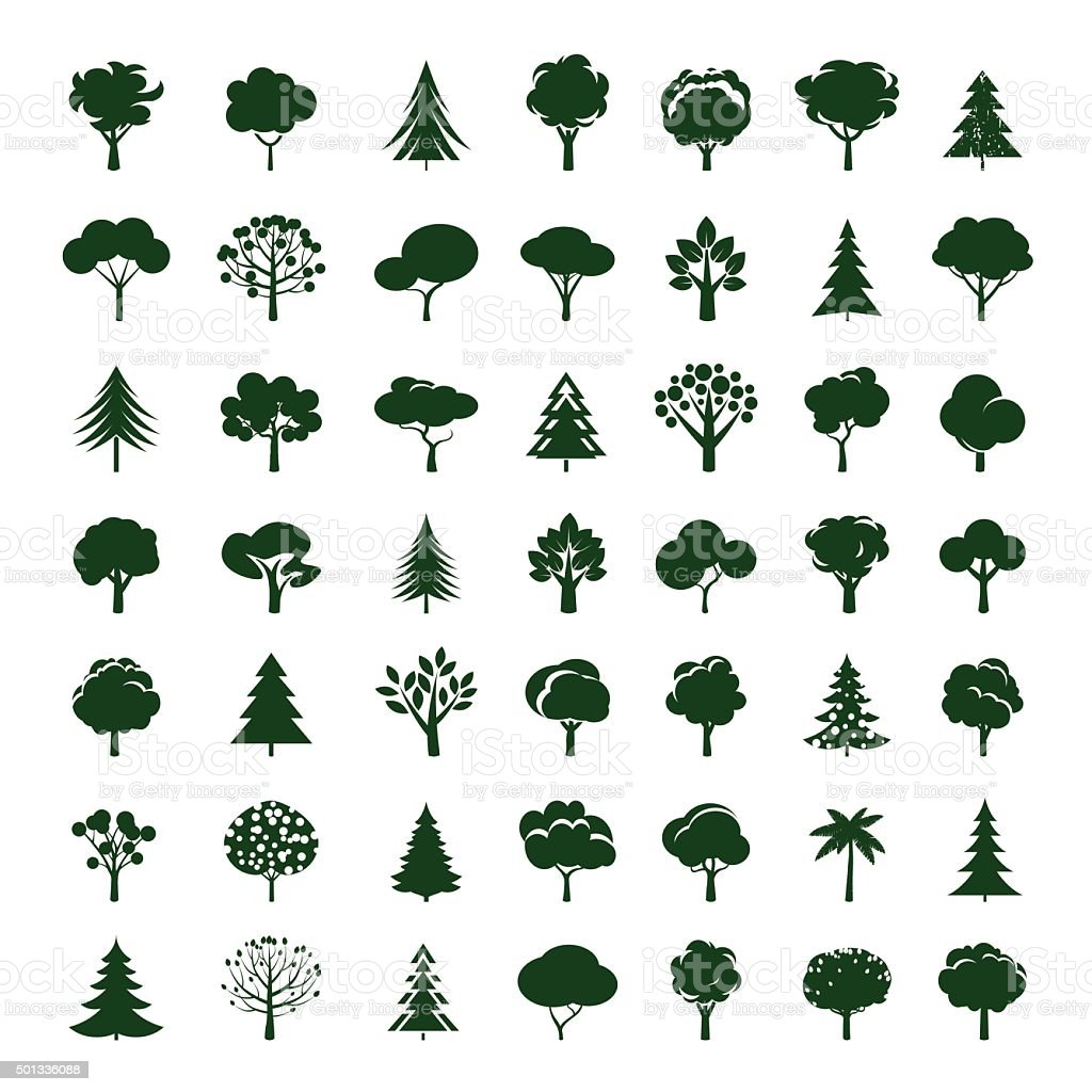 Set of Grey Trees. Vector symbol and icon. vector art illustration