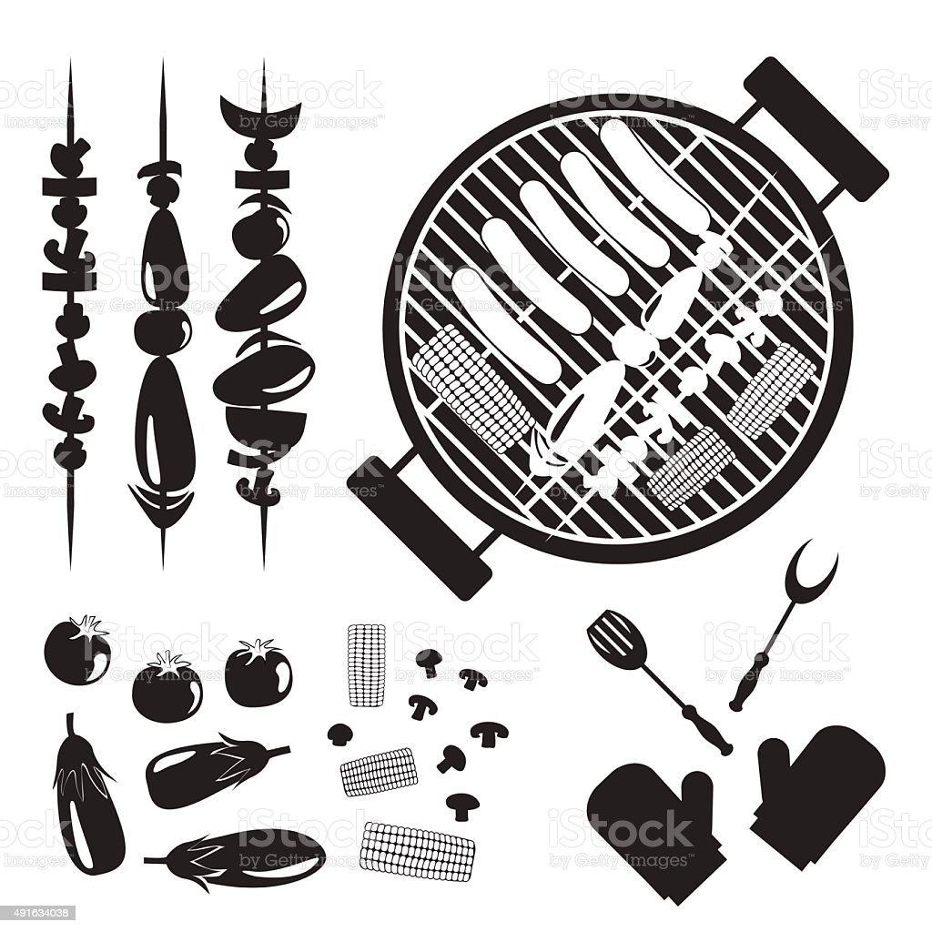 Set of grilled vegetables, mushrooms, sausage and Grill vector art illustration