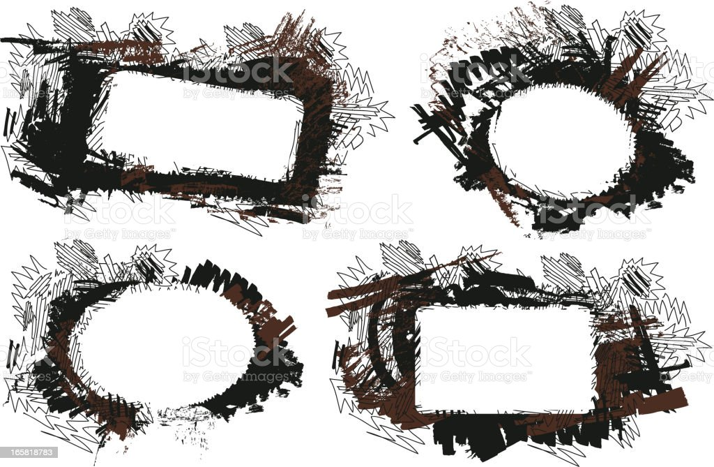 Set of grunge abstract texture frames vector art illustration