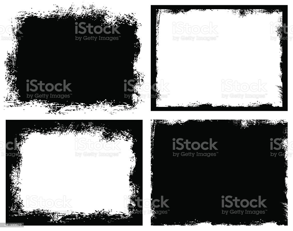 Set of grunge background. Broken dirty rough frames vector art illustration