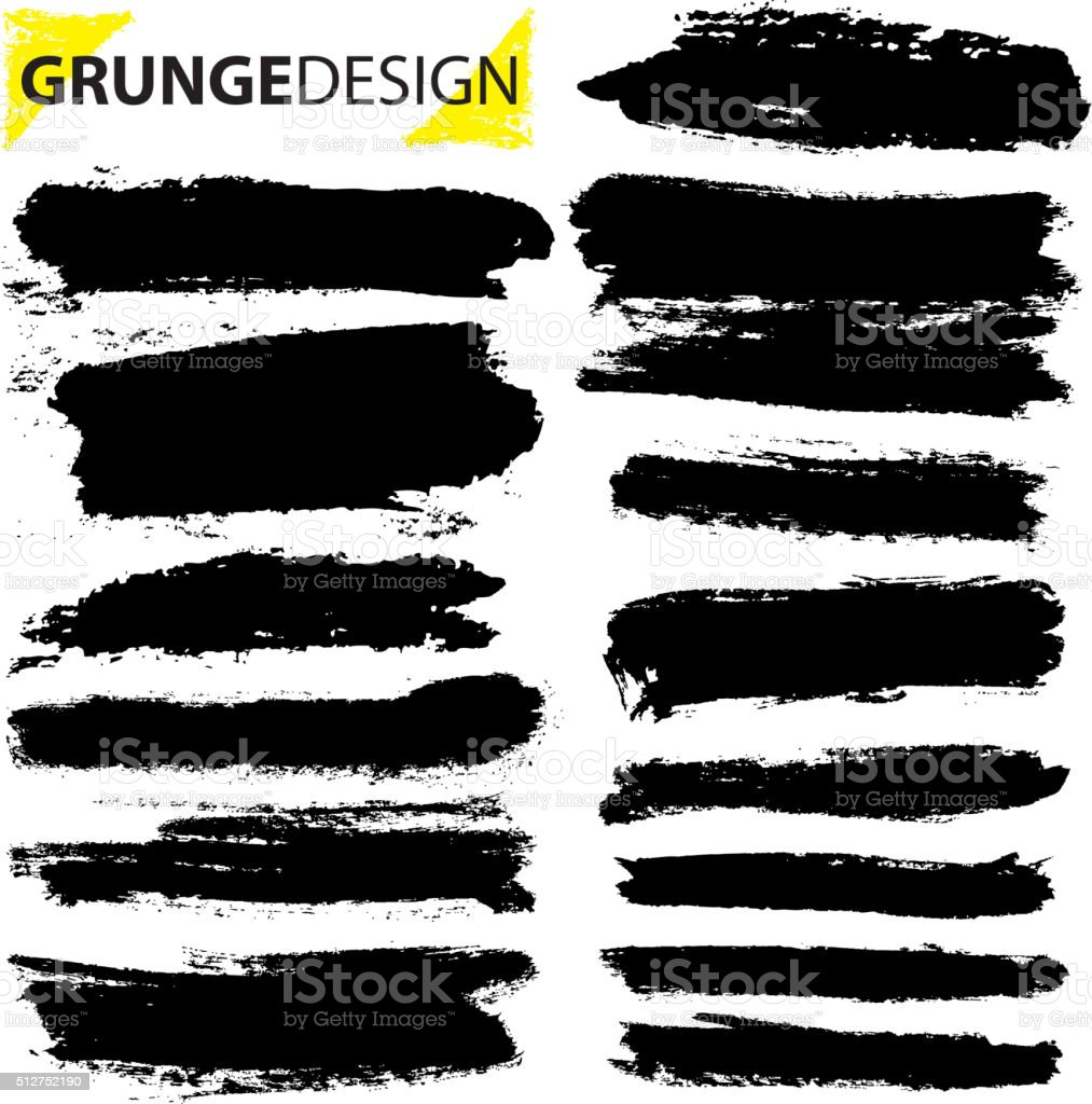 Set of grunge brush strokes vector art illustration