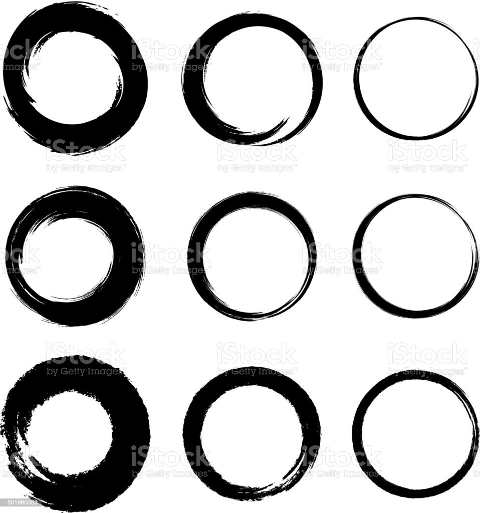 Set of Grunge Circle Stains vector art illustration