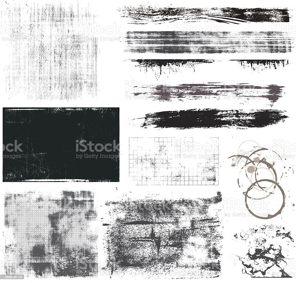 Set of Grunge Elements vector art illustration