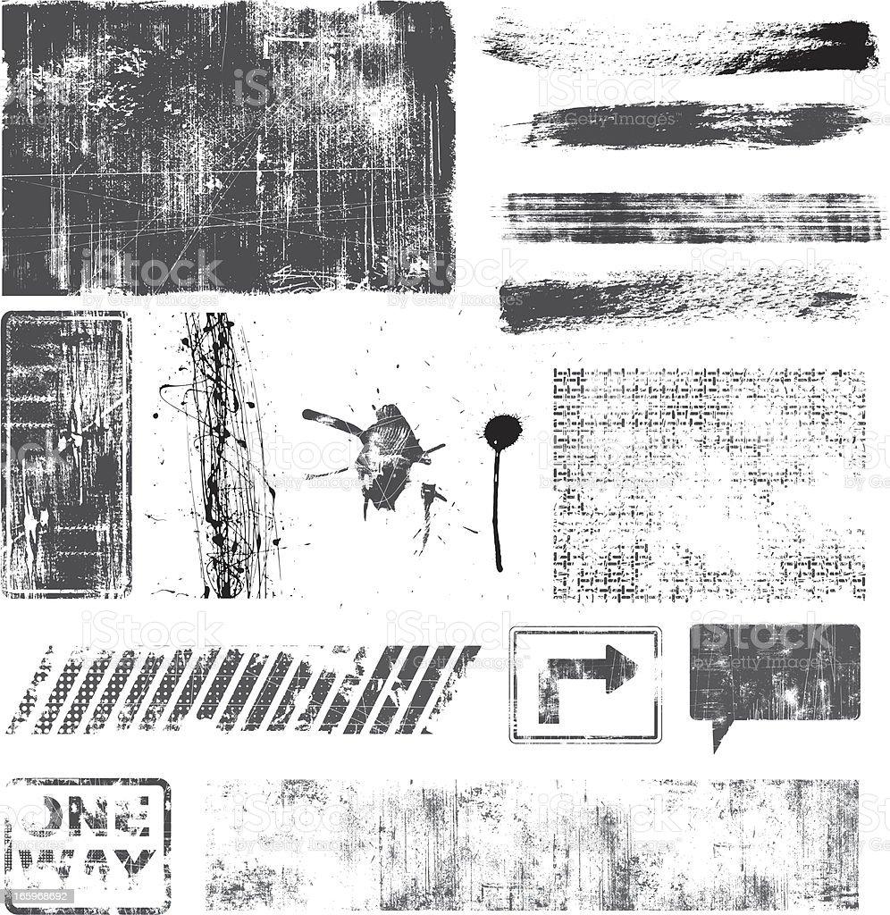 Set of Grunge Elements vector art illustration