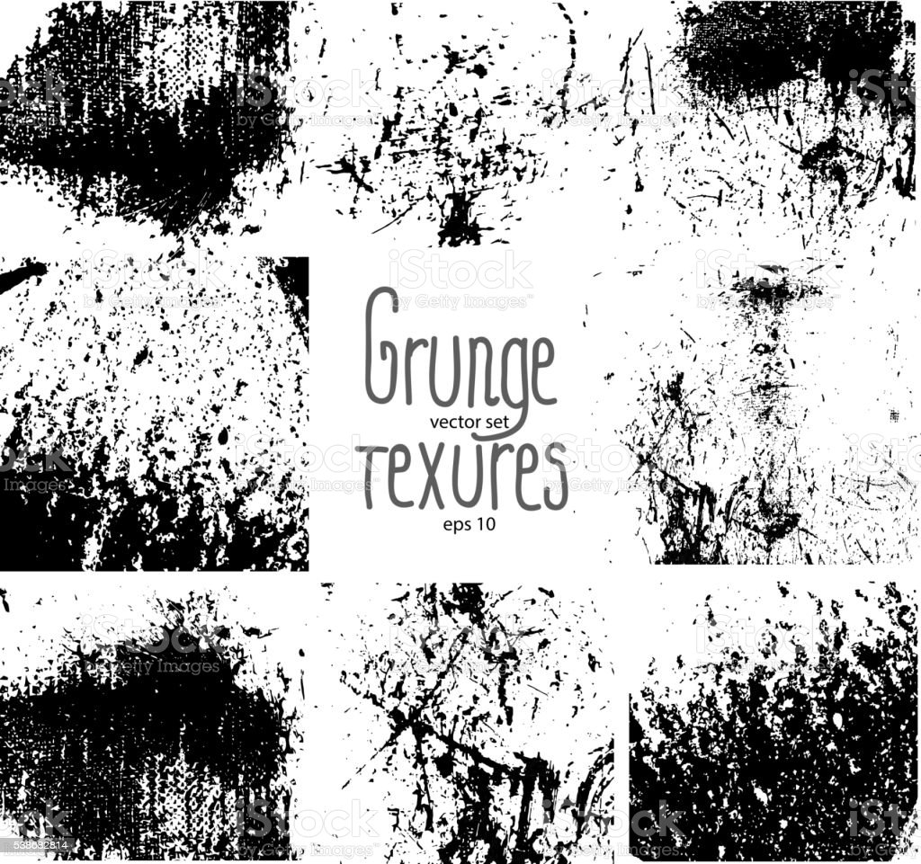 Set of grunge textures vector art illustration
