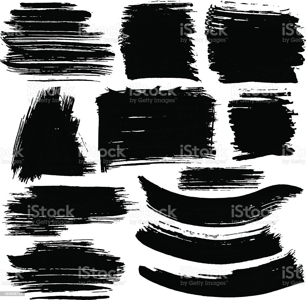 Set of grungy vector banners. Hand drawn ink elements. vector art illustration