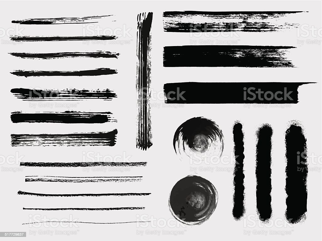 Set of grungy vector brushes vector art illustration