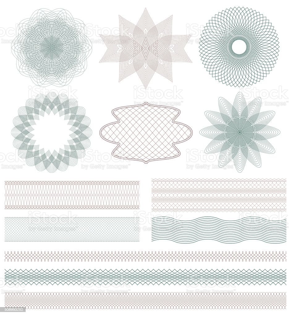 Set of Guilloche decorative elements. Vector illustration. vector art illustration